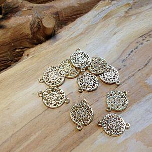 2 Stück Connector Verbinder gold Blume rund