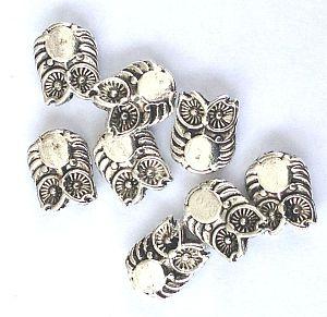 10 Metallspacer Eulenperlen silber antik 10 mm