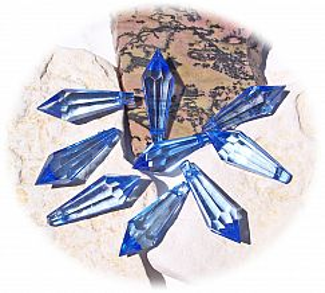 20 schöne große Teardrop Perlenset 30 mm Tropfen blau