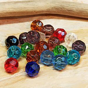 20 geschliffene Glasperlen facettiert 8 mm rund Farbmix