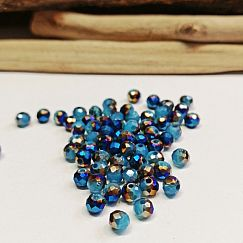 40 Glasperlen Abacus Faceted 4 x 3 mm blau lila