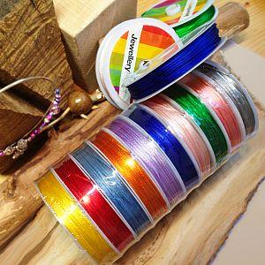10 x 10 m Perlschnur 0,8 mm 10 Farben mit trendy Neonfarben