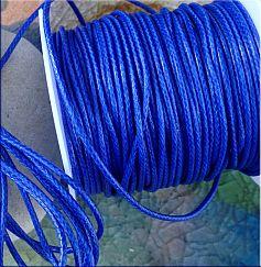 10 m Perlschnur 1 mm gewachste Baumwolle blau abgemetert