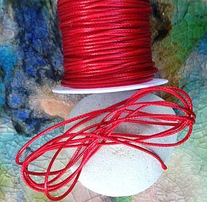 10 m Rolle Perlschnur 1 mm gewachste Baumwolle rot