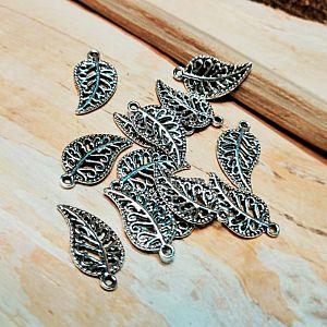 6 Kettenanhänger Blatt in silber antik 15 mm Charm für Armbänder