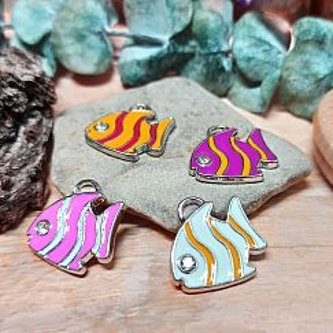 4 verschiedene Metall Kettenanhänger Fisch silber Emaille Strass 20 mm