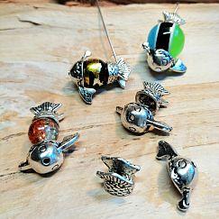 1 Set Metall Perlenkappen als Fischmotiv für Perlen