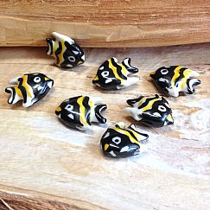 2 Keramikglasfische Perlen handmade Fisch 23 mm