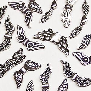 10 versch. Metallperlen Engelflügel silber Flügelperlen