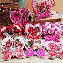 5 super hübsche Geschenkkärtchen als Herz mit Rosen und Glitzer