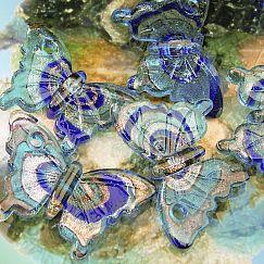 1 großer Glas Lampwork Glasanhänger Schmetterling blau 54 mm