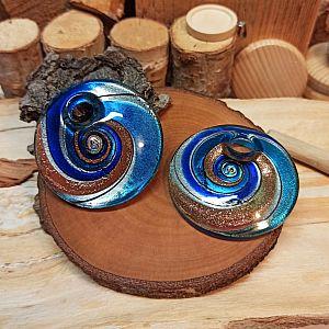 1 großer Glas Lampwork Anhänger 50 mm Spirale blau