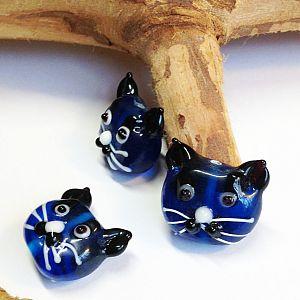Katzenperlen Set mit 2 Glaslampworkperlen Katzen handmade blau 22 mm