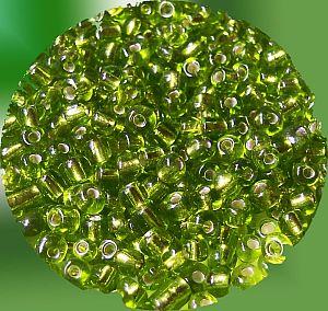 20 g Glasperlen Rocailles mit Silbereinzug moosgrün 3-4 mm