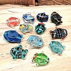 10 Lampwork Glasperlen handmade Fische 20 - 25 mm