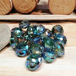 4 Facettierte geschliffene Glasperlen rauchblau irisierend 15 x 9 mm