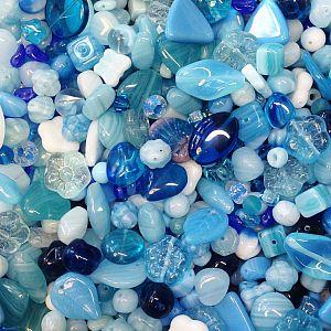 50 g böhmische Glasperlen als Mix in blau
