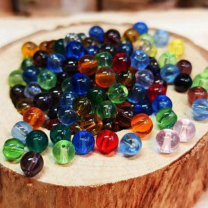 Perlenset mit 50 Glasperlen bunter Mix 4,5 mm Loch 0,5 mm