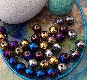 Perlenset mit 20 Glasperlen feuerpoliert 8 mm Loch 1 mm