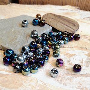 Perlenset mit 50 Glasperlen feuerpoliert 6 mm Loch 1 mm