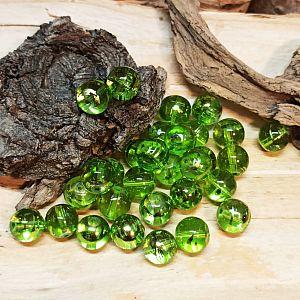 Perlenset 20 Glasperlen grün draw bench 10 mm Kugel