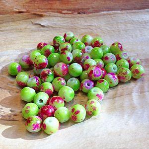 30 Glasperlen Tintenklecks grün pink Kugelform 8 mm