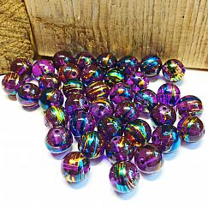 Perlenset 20 Glasperlen lila cosmic style 10 mm Kugel