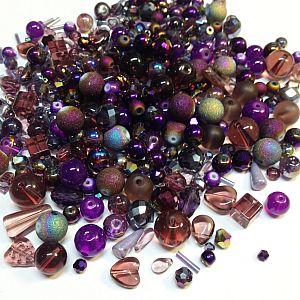 50 g böhmische Glasperlen als Mix in violett lila