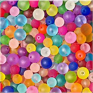 PerlenSet mit 30 Glasperlen gefrostet 8 u. 10 mm Loch 1 mm