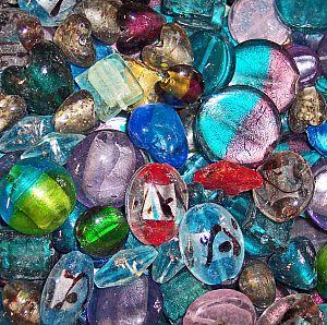 Perlenset 10 große bunte Glasperlen Silbereinzug 20 - 35 mm