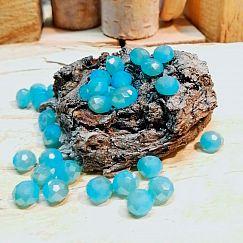 30 Facettierte geschliffene Glastperlen türkisblau 8 x 6 mm