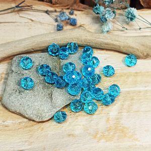 30 Facettierte geschliffene Glastperlen türkisblau 8 x 6 mm transparent