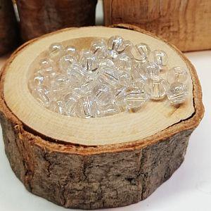 30 kristallklare Glasperlen rund 6 mm