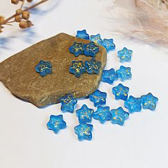 10 Glasperlen Mondperlen Stern 8 mm semitransparent blau