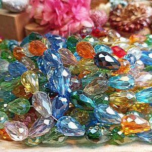 10 Facettierte geschliffene feuerpolierte Glastropfenperlen Farbmix 16 mm