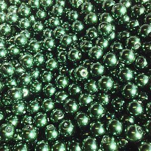 50 Glaswachsperlen Set dunkelgrün 8 mm