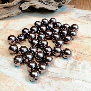 Perlenset 50 Glaswachsperlen grau braun 8 mm