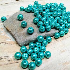 Perlenset 40 Glaswachsperlen 6 mm türkis grün