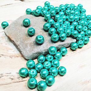 Perlenset 40 Glaswachsperlen 8 mm türkis grün