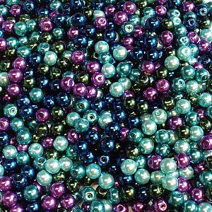 Perlenset 50 Glaswachsperlen Kinderperlen lila türkis grün 6 mm