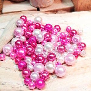 Perlenset 100 Glaswachsperlen rosa pink 6 - 10 mm