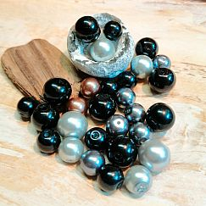 Perlenset 100 schwarze Glaswachsperlen 6 - 10 mm