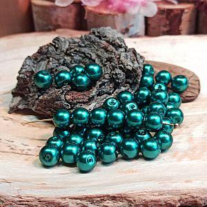 30 Glaswachsperlen Set smaragd blaugrün 8 mm
