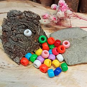 20 einfache Kinderperlen bunt Grosslochperlen 8,5 mm