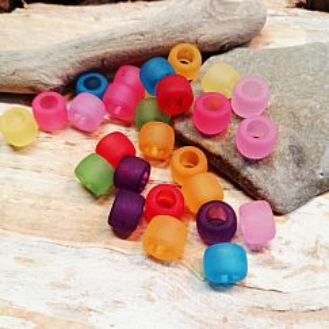 30 Grosslochperlen für Kinder 8 x 6 mm Acryl gefrostet