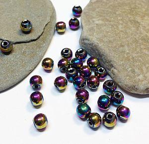 Perlenset mit 30 Hämatitperlen 4 mm Loch 0,8 mm