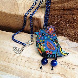 1 Halskette mit Anhänger Vogel blau