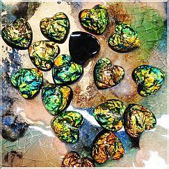 2 Herzanhänger aus Resin rainbow 17,5 mm