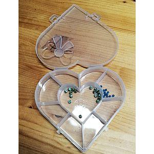 Perlen Sortierbox Acryl Herzform 15,5 cm cm semitransparent