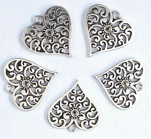 1 Metallanhänger Herz antik silber 25 mm